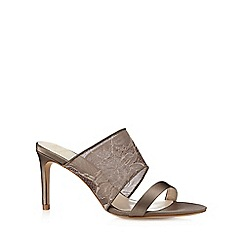 No. 1 Jenny Packham - Designer taupe lace strap high mule sandals