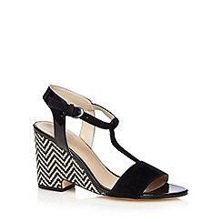J by Jasper Conran - Designer black zig zag high wedge sandals