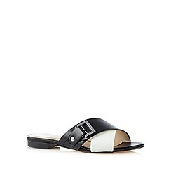 J by Jasper Conran - Designer black leather cross strap sandals