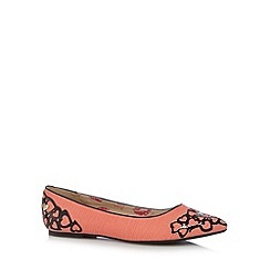 Floozie by Frost French - Coral laser cut heart trim pumps