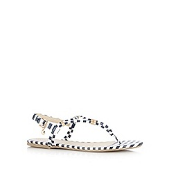 Floozie by Frost French - Navy striped buckle flip flops