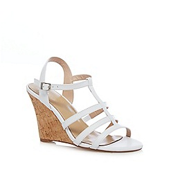 J by Jasper Conran - Designer white leather wedge cork high sandals