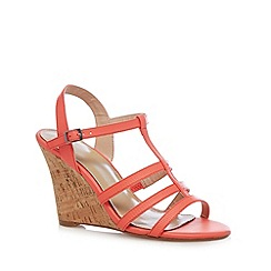 J by Jasper Conran - Designer coral leather wedge cork high sandals