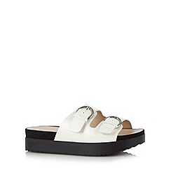 H! by Henry Holland - Designer white double buckle platform sandals