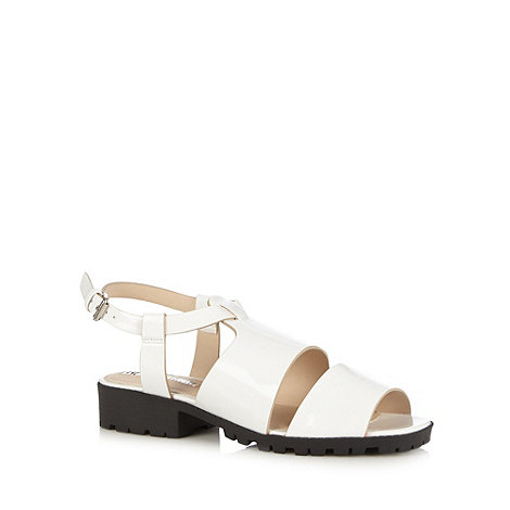 H! by Henry Holland - Designer white patent block sandals