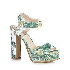 H! by Henry Holland - Designer green palm print high sandals