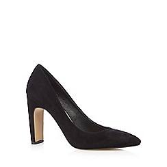 J by Jasper Conran - Black suedette heeled court shoes