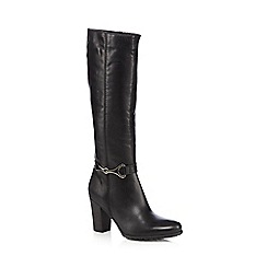 J by Jasper Conran - Black leather snaffle buckle high leg boots