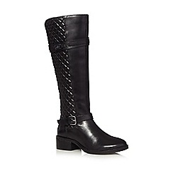 J by Jasper Conran - Black leather quilted high leg boots