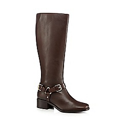 J by Jasper Conran - Brown leather low heeled riding boots