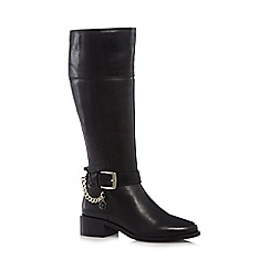 J by Jasper Conran - Black leather mid heeled high leg boots