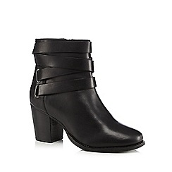J by Jasper Conran - Black leather multi strap mid heel boots