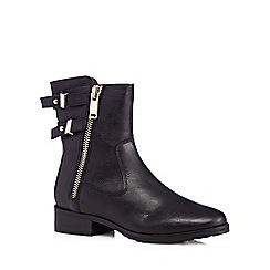 J by Jasper Conran - Designer black leather zip detail ankle boots