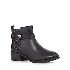 J by Jasper Conran - Designer black leather quilted mid heel boots