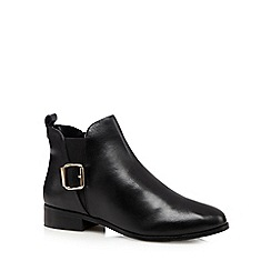J by Jasper Conran - Black leather buckle chelsea boots