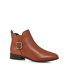J by Jasper Conran - Tan leather buckle chelsea boots
