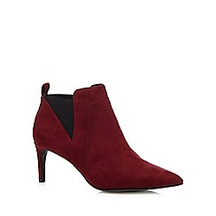 J by Jasper Conran - Dark red suedette pointed ankle boots