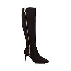 J by Jasper Conran - Black suedette zip detail knee high boots
