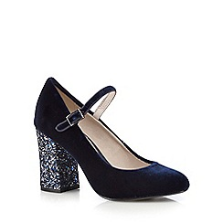RJR.John Rocha - Navy velvet high court shoes