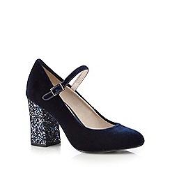 RJR.John Rocha - Navy velvet high court shoes