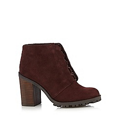 RJR.John Rocha - Dark red suede lace up high heeled ankle boots