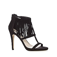 Nine by Savannah Miller - Black 'Sarah' heeled sandals with fringe detail