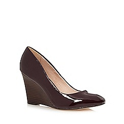J by Jasper Conran - Dark red patent high wedge court shoes