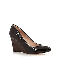 J by Jasper Conran - Black patent high wedge court shoes