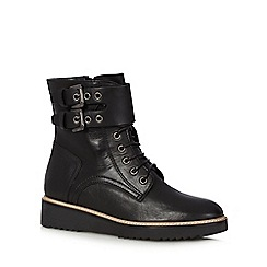 RJR.John Rocha - Black leather lace buckle detail ankle boots