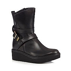 RJR.John Rocha - Black leather wedge heeled ankle boots