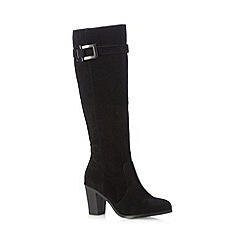 Principles by Ben de Lisi - Black buckled snakeskin suedette high leg boots