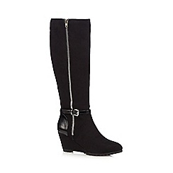 Principles by Ben de Lisi - Black suedette mid wedged boots