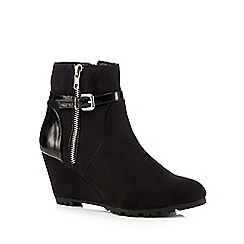 Principles by Ben de Lisi - Black suedette mid wedged ankle boots