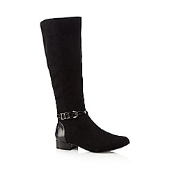 Principles by Ben de Lisi - Black suedette buckle detail knee high boots