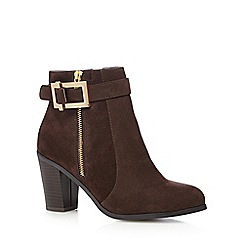 Principles by Ben de Lisi - Dark brown suedette buckle mid ankle boots