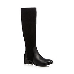 J by Jasper Conran - Black suede mid heeled high leg boots