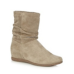 Nine by Savannah Miller - Taupe 'Sally' suede flat ankle boots