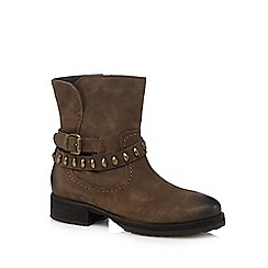 Nine by Savannah Miller - Brown 'Steffi' leather flat biker boots