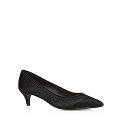 J by Jasper Conran - Designer black leather pony hair textured mid court shoes