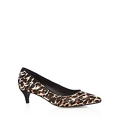 J by Jasper Conran - Designer black leather leopard pony hair textured court shoes