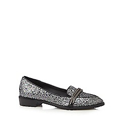 H! by Henry Holland - Silver sequinned chain detail loafer shoes