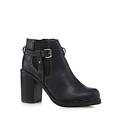 H! by Henry Holland - Navy high block heeled Chelsea boots
