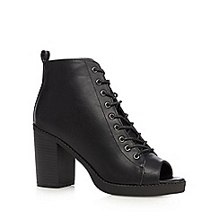 H! by Henry Holland - Black peep toe high heeled ankle boots