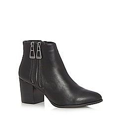 H! by Henry Holland - Black double zip mid heeled ankle boots