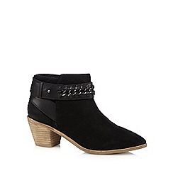 Nine by Savannah Miller - Black 'Sasha' suede ankle boots with chain detail