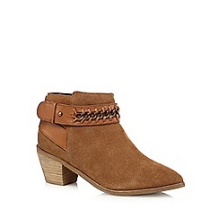 Nine by Savannah Miller - Tan 'Sasha' suede ankle boots with chain detail