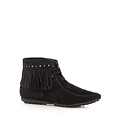 Nine by Savannah Miller - Black 'Summer' suede tasselled ankle boots