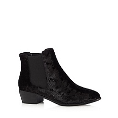 H! by Henry Holland - Black velvet mid heeled Chelsea boots