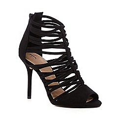 J by Jasper Conran - Black suedette cutout high heeled sandals