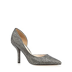 J by Jasper Conran - Silver metallic wave textured high heel court shoes